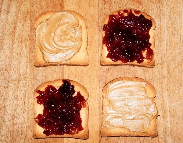 A slice of bread with peanut butter