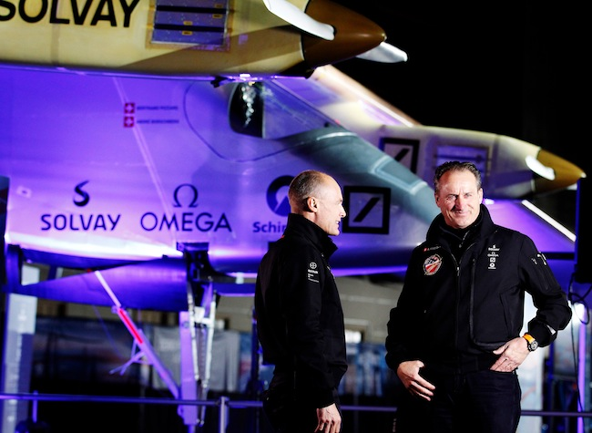 The Solar Impulse solar powered airplane is seen during a press conference at the NASA Ames Research Center in Mountain View, California