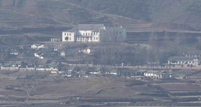 A North Korean village is seen near the demilitarized zone separating North Korea and South Korea