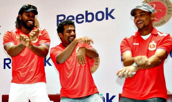 Chris Gayle, Muttiah Muralitharan and Tillakaratne Dilshan