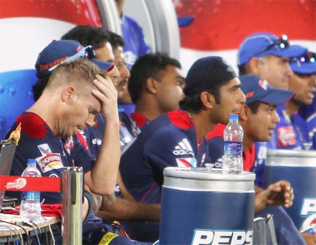 David Warner reacts after losing the IPL 6 match against Rajasthan Royals