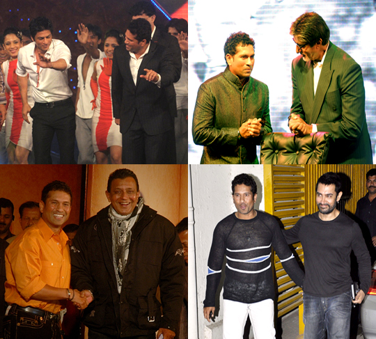 Sachin Tendulkar with Bollywood stars