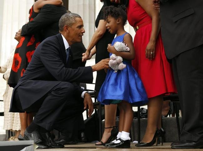 U.S. President Barack Obama greets Yoland Renee King at the 50th anniversary of the March on Washington