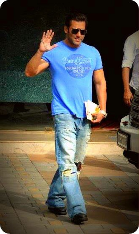 Salman Khan was spotted in a calm mood with a Rakhi on his hand