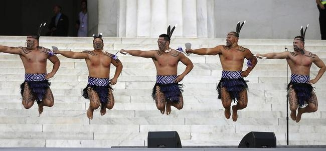 Maori group perform during March on Washington ceremony in Washington