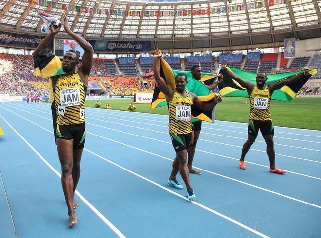 Nickel Ashmeade, Kemar Bailey-Cole, Usain Bolt and Nesta Carter