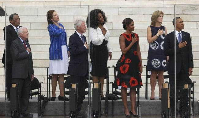 "Young, former US president Carter, Johnson, former US President Clinton, Winfrey, US first lady Obama, Kennedy, and US President Obama attend ceremonies celebrating the anniversary of the ""March on Washington"" in Washington"
