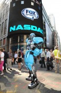 Cleatus the Robot Rings the Opening Bell at the NASDAQ Bell