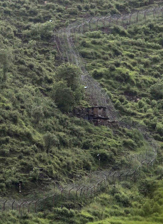 An Indian army picket is pictured along the Line of Control, a ceasefire line dividing Kashmir between India and Pakistan, in Poonch