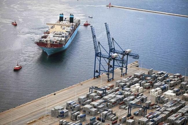 An aerial view of the MV Maersk Mc-Kinney Moller as it arrives at the harbour of Gdansk