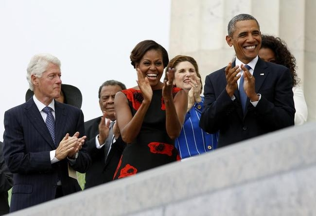Obamas and Clinton attend the 50th anniversary of the March on Washington in Washington