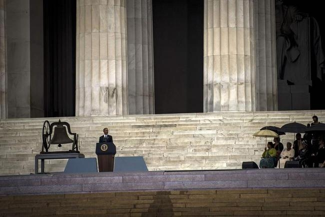 U.S. President Barack Obama speaks at the Lincoln Memorial on the 50th Anniversary of the March on Washington
