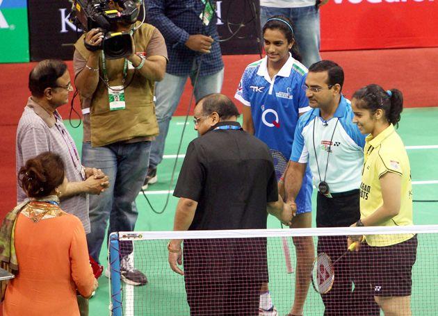Chidambaram, Saina Nehwal and P.V. Sindhu