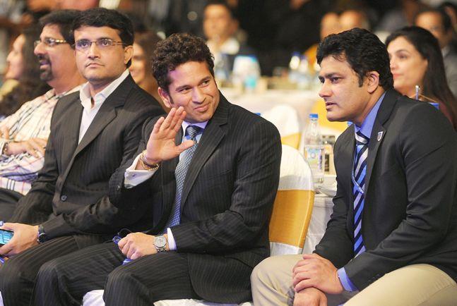 Saurav Gangully, Sachin Tendulkar and Anil Kumble