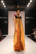 Karishma Jamwal under her label Lotus Sutr presented a sassy, bohemian art inspired new collection titled 'Between Smudged Lines' at Tata Nano Talent Box at Lakmé Fashion Week Winter/Festive 2013. Made of classy, luxurious materials such as geor