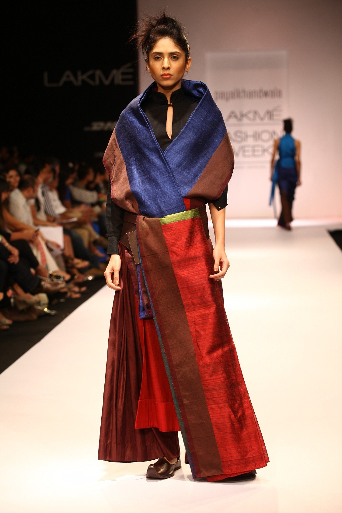 Bringing a sense of unconventional creativity for her line of garments, the collection worked around strong colours of rust, royal purple, maroon, electric blue, sun yellow, pure white, olive, brown and black.