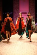 Using hand-woven back strap loomed fabrics, Bhutanese Tangkhas, prayer flags, kanni weaves, hand spun khadi, woven silks, leather, Lycra jersey and adding the beautiful jamavar motifs of Kashmir; the result was a fascinating line of contemporary fash