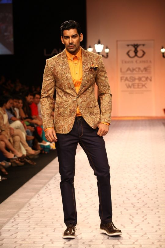 "It was luxury from the 1930's men's wear era that revived expert tailoring of British styles. Troy Costa's collection, called ""The London Eye"" at Lakmé Fashion Week Winter/Festive 2013, was partly inspired by the Mark Gertler painting called �"
