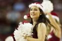 Cheerleader of the Arkansas Razorbacks performs