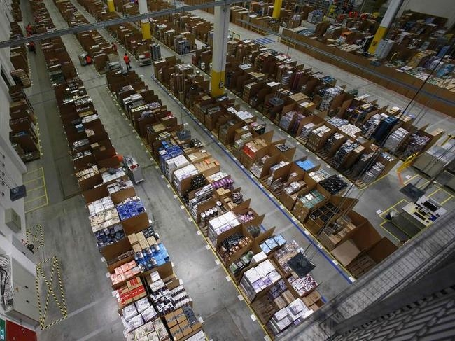 General view of the storage hall at warehouse floor in Amazon