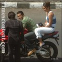 Salman Khan with his co-stars, actress Lara Dutta and Rajpal Yadav, during the film shoot of