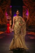 The line up of sari gowns with brocade insets, fuchsia shaded mermaid creation, red pleated moulded gown with gold work and the gold cutwork pallav for the dusty bronze creation were superb.