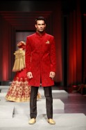 A stark Jodhpuri jacket appeared with gold cuffs and collar and when it came to discreet elegance it was a self designed maroon Jodhpuri coat that stole the show.