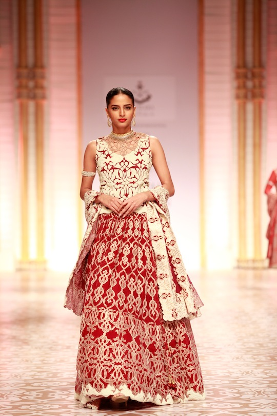 The fabrics were a melangé of colour and textures as sheer chiffon blended effortlessly with lush velvets and brocades that were luxuriously worked with glittering zardosi and intricate chikankari, which is their specialty to create amazing textures.