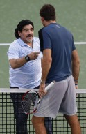 Diego Maradona Plays Tennis