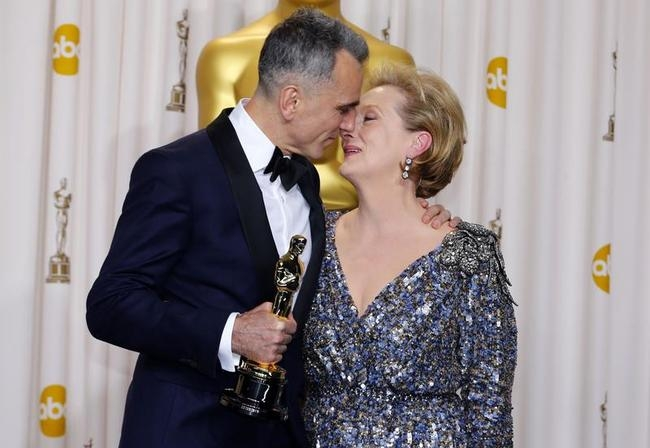 "Daniel Day-Lewis poses with presenter Meryl Streep after receiving his Oscar for Performance By An Actor In A Leading Role for ""Lincoln"" at the 85th Academy Awards in Hollywood, California"