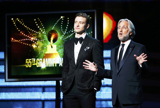 President of the National Academy of Recording Arts and Sciences Neil Portnow and Justin Timberlake