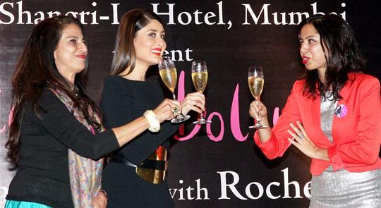 Kareena Kapoor with Shobhaa De and author Rochelle Pinto