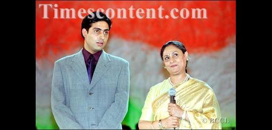 Abhishek Bachchan with actress-mother Jaya Bachchan at a star-studded nite, organised to raise funds for the Kargil war victims, in New Delhi on July 19, 1999.