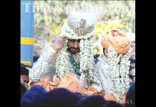 wedding procession makes its way from