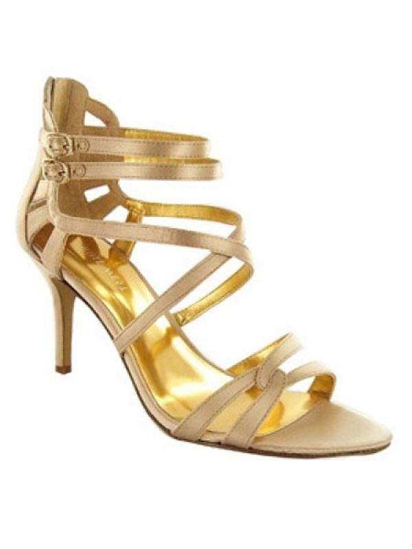 Golden strappy heels