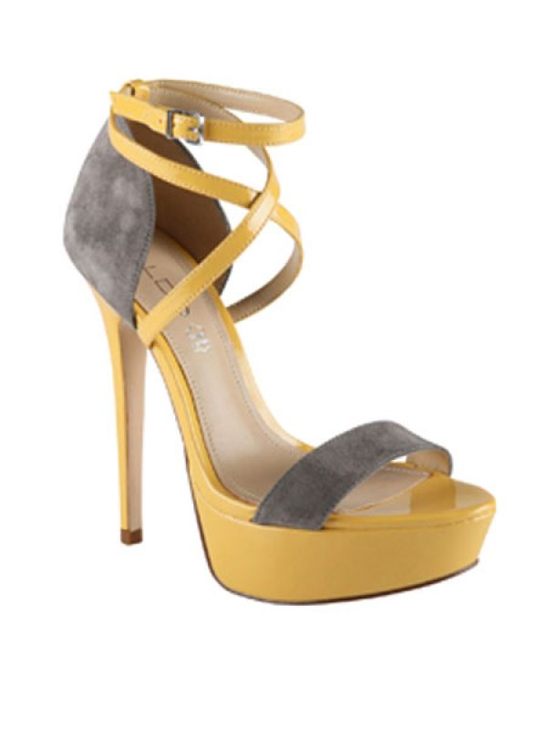 Yellow & grey strappy heels