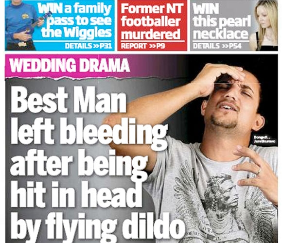 Best Man left bleeding after being hit in head by flying dildo