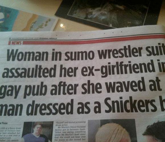 Woman in sumo wrestler suit assaulted her ex-girlfriend