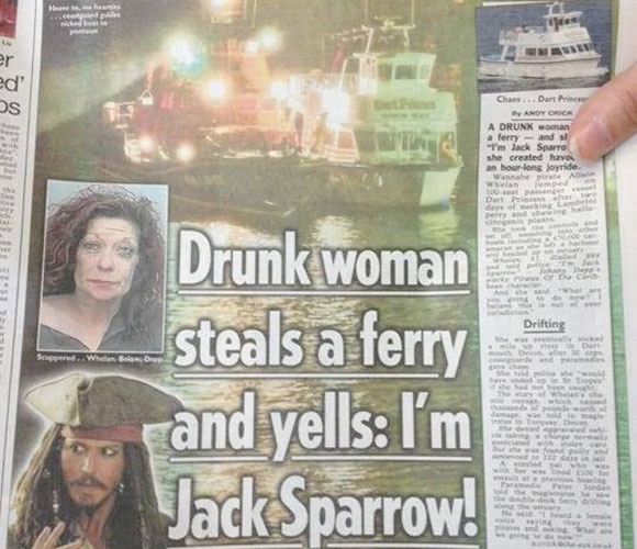 Drunk woman steals a ferry and yells: I'm Jack Sparrow!
