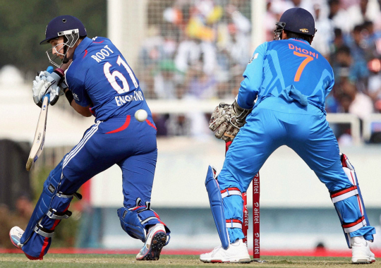 England batsman J Root plays a shot during 3rd ODI cricket match against India in Ranchi on Saturday
