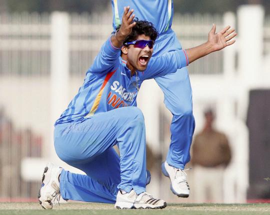 R Jadeja successfully appeals for the dismissal of England batsman Samit Patel
