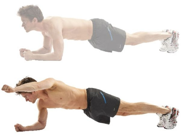 Weight Loss: 30 Best Ways to Lose Belly Fat Workout for Flat Belly: Arm raise in a plank