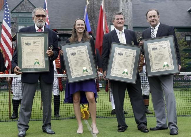 Ion Tiriac, Martina Hingis, Charlie Paserell, Cliff Drysdale