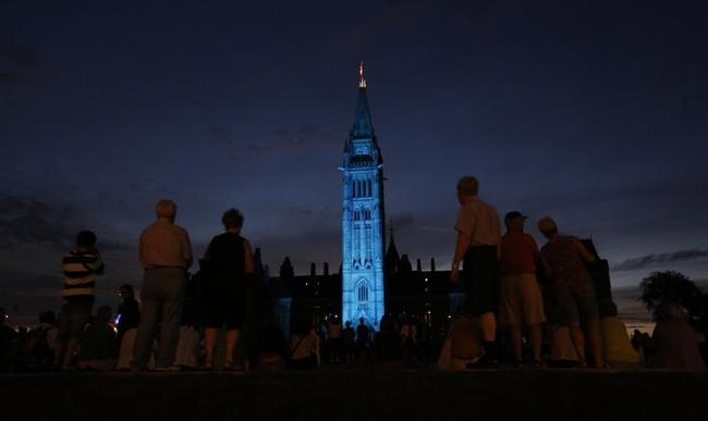 The Peace Tower Turned Blue
