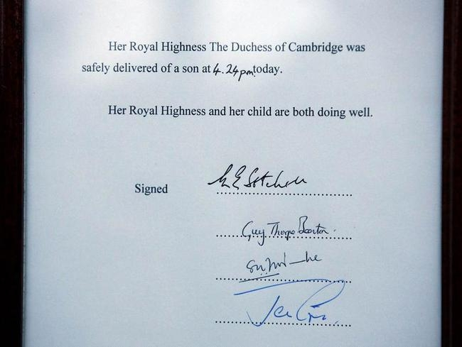 A notice formally announcing the birth of a son to Britain