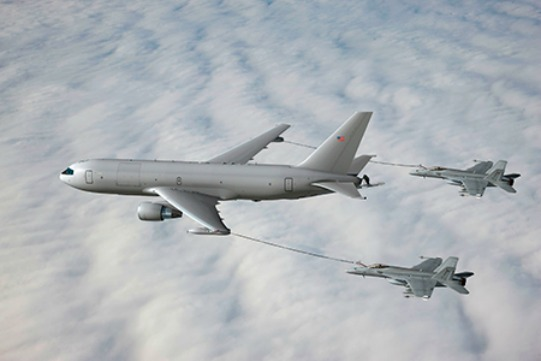 KC-46 with F/A-18E/F Super Hornets