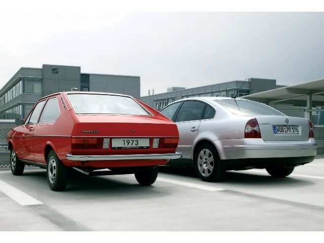 First and fifth generation Volkswagen Passat from the rear
