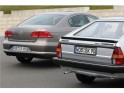 Second and sixth generation Volkswagen Passat from the rear