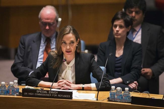 UNHCR special envoy, Jolie, speaks during United Nations Security Council meeting at United Nations Headquarters in New York