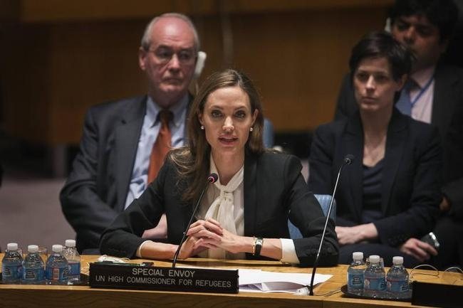 UNHCR special envoy Jolie, speaks during United Nations Security Council meeting at United Nations Headquarters in New York